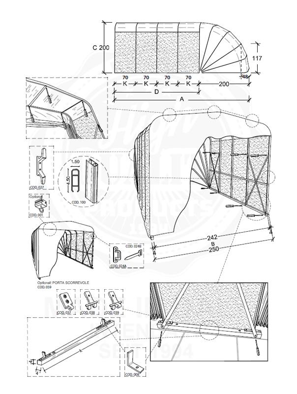 Carport Datenblatt Einzelkuppel