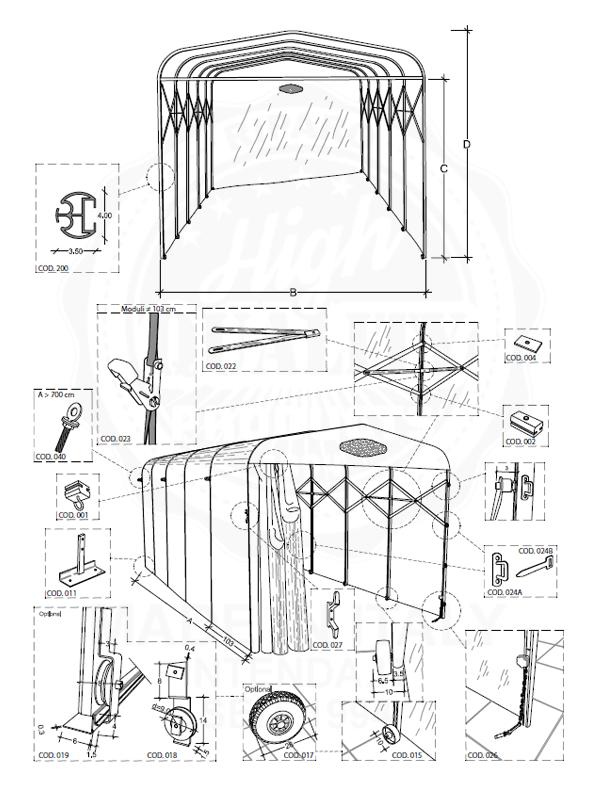 Datenblatt Carport Tunnel Variante auf Rollen