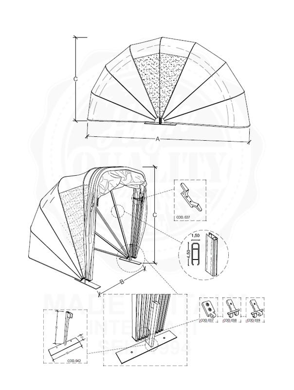 Datenblatt Motorrad Unterstand Kuppel Variante
