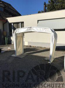 RIPARO Carport Kuppel Bodenbefestigungsvariante mit Gartenbodenplatten (Platten nicht im Lieferumfang enthalten)